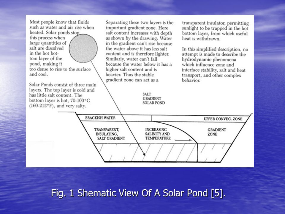 Fig. 1 Shematic View Of A Solar Pond [5].